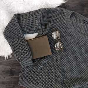 Boohoo Grey Waffle Knit Crew Neck Pullover Sweater
